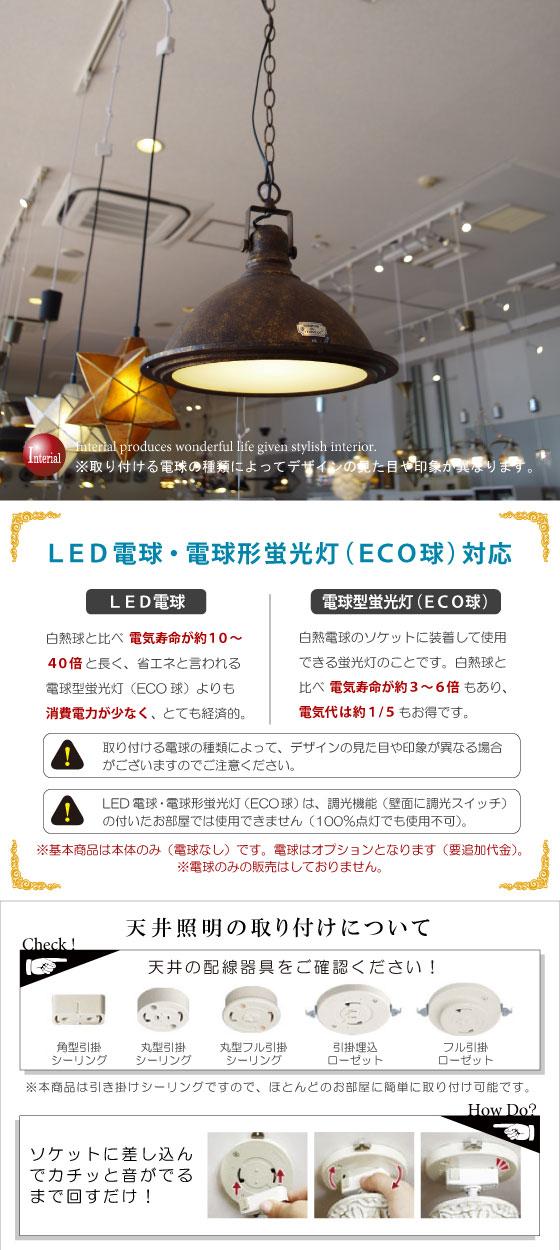 スチール&ガラス製・ペンダントライト(1灯)LED電球&ECO球使用可能