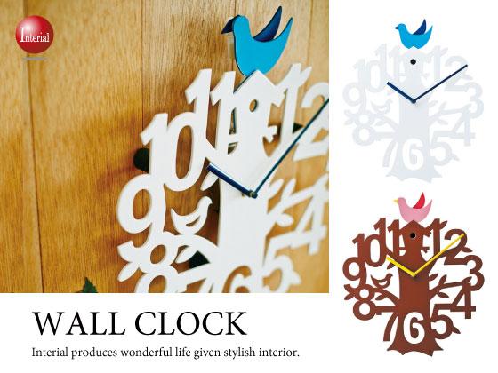 小鳥&木デザイン振り子・壁掛け時計