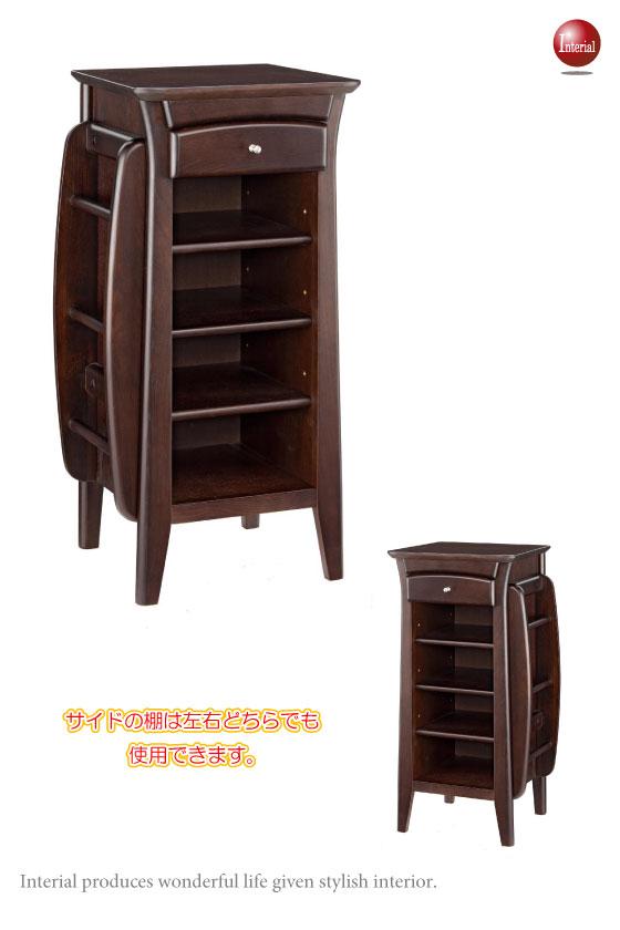 天然木ニレ材・サイド棚付きスリッパラック(完成品)
