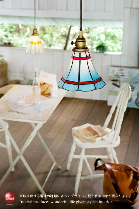 ステンドグラスデザイン・ペンダントランプ(1灯)LED電球&ECO球使用可能