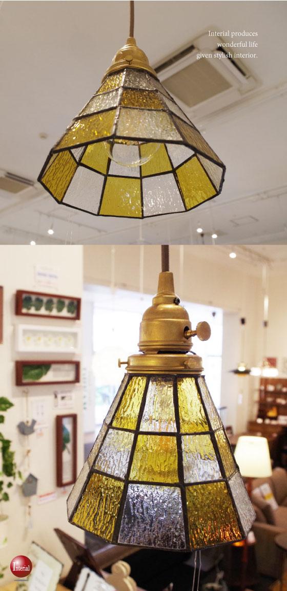 ステンドグラスペンダントランプ(1灯)LED電球&ECO球使用可能