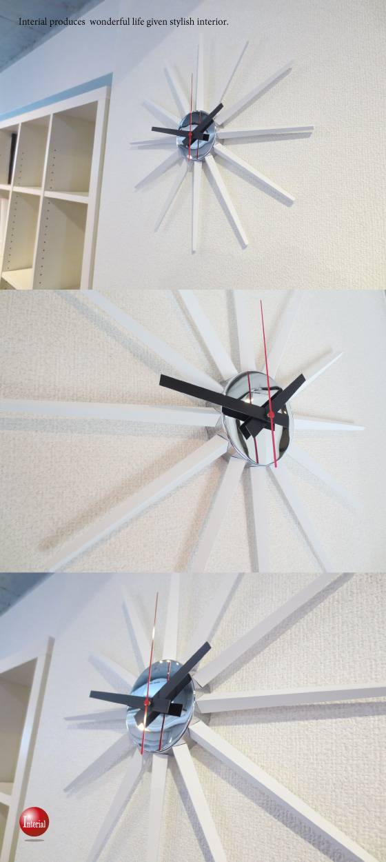 ハイデザイン・天然木インテリア掛け時計(ホワイト)