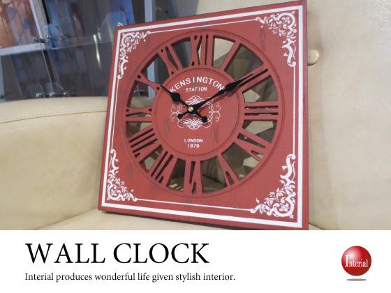 アンティーク壁掛け時計(赤レッド・正方形)【完売しました】