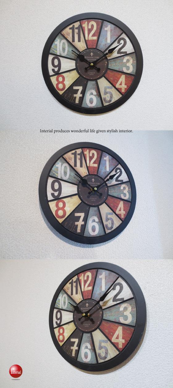 ヴィンテージ調壁掛け時計(黒ブラック)