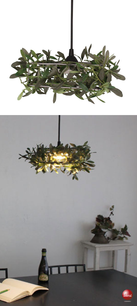 LED一体型!アイアン&葉っぱリーフ・ペンダントライト(1灯)【完売しました】