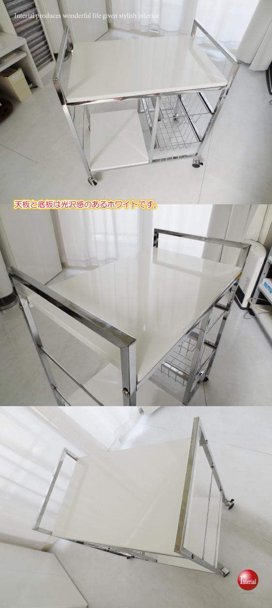 光沢ホワイト・幅60cmキッチンワゴン
