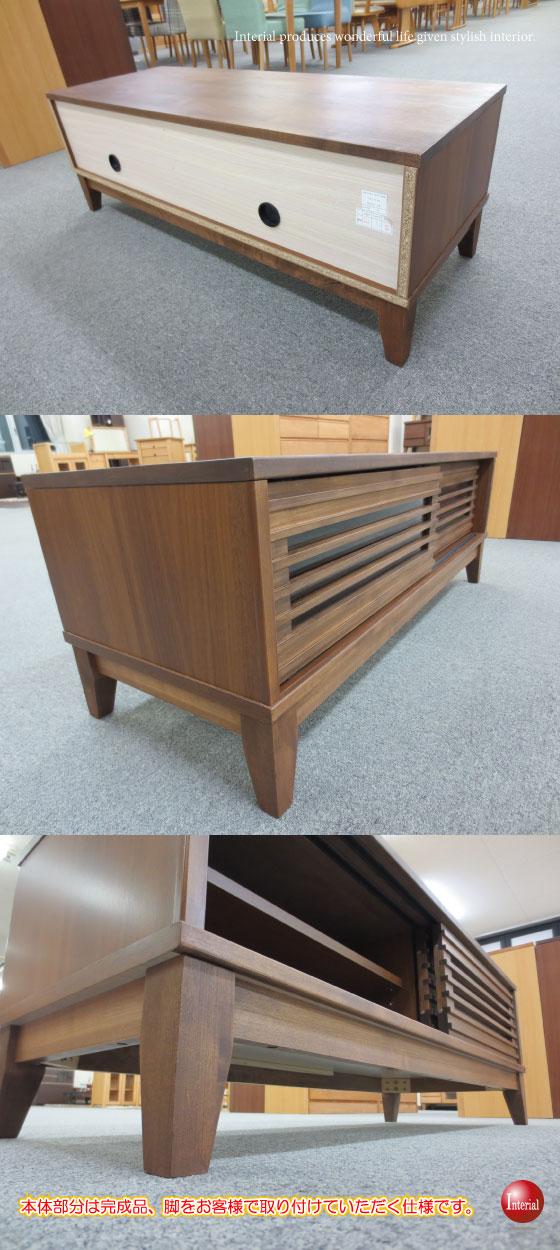 天然木アルダー製・格子デザイン幅120cmテレビボード(完成品)