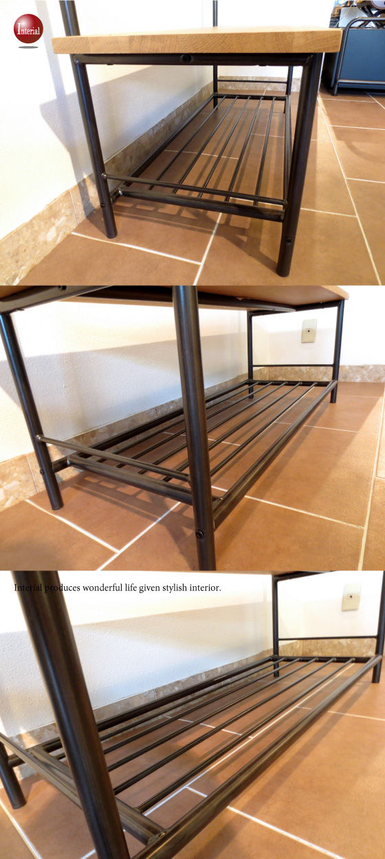 天然木ホワイトオーク無垢材&ブラックアイアン・幅110cmベンチハンガーラック