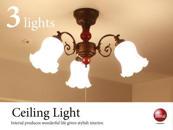フラワーデザイン・シーリングライト(3灯)LED電球&ECO球対応