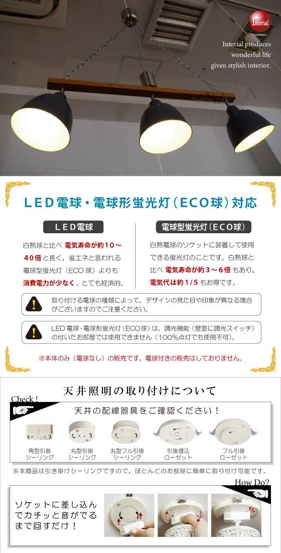 スポットライトデザイン・ペンダントライト(3灯)LED電球&ECO球対応