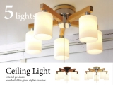 北欧テイスト・ガラスシェードシーリングライト(5灯)LED電球&ECO球対応