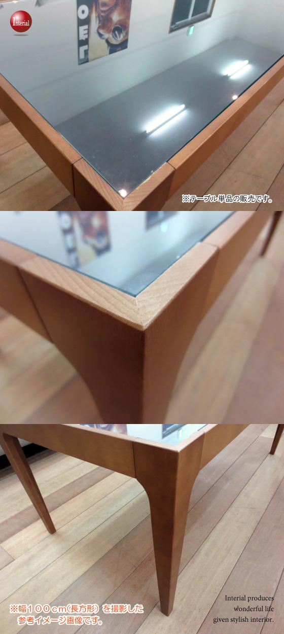 リバーシブル天板!天然木ビーチ&ガラス・幅80cmリビングテーブル(正方形)【完売しました】