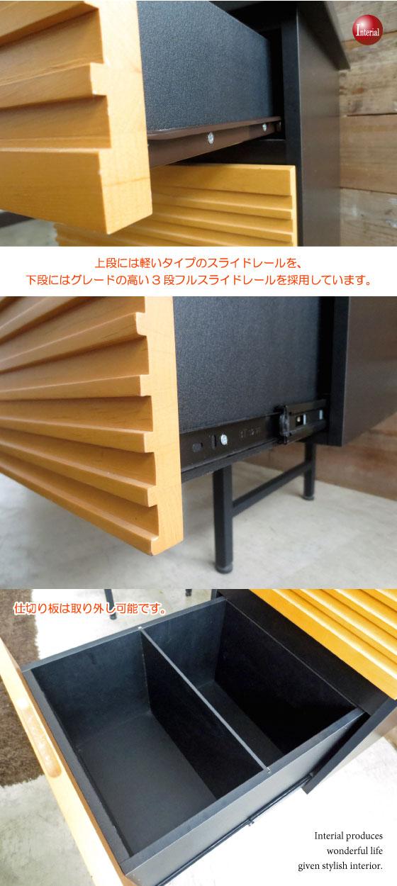 天然木アルダー無垢材使用・幅120cmデスク(引き出し収納付き)