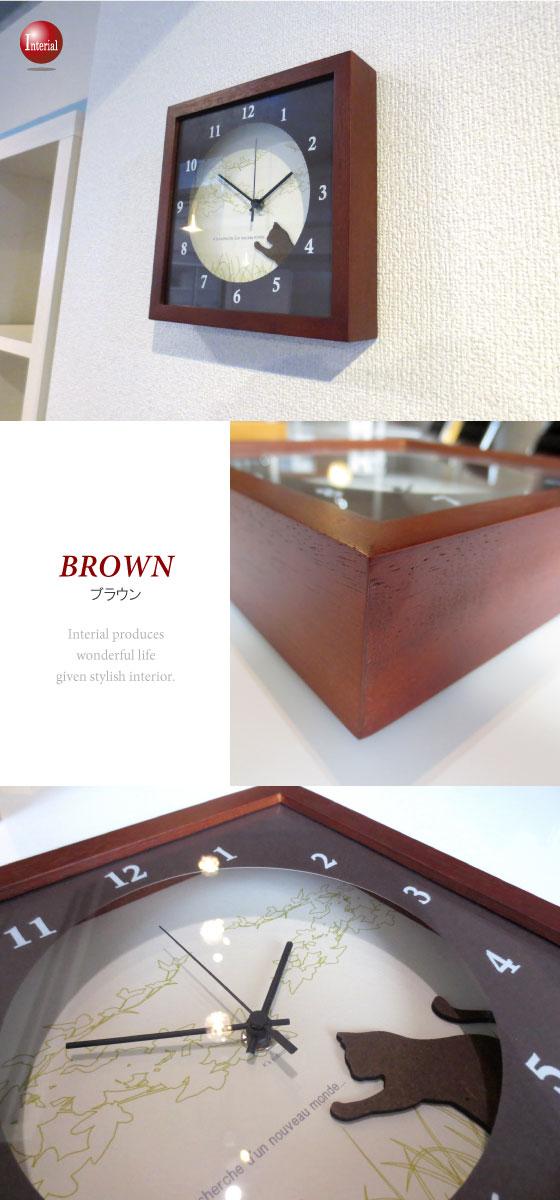 天然木製フレーム・インテリア壁掛け時計(ネコ)日本製