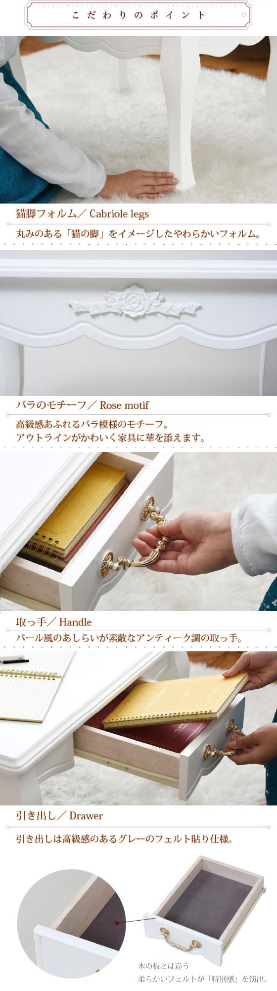 プリンセスホワイト・幅75cmリビングテーブル(完成品)