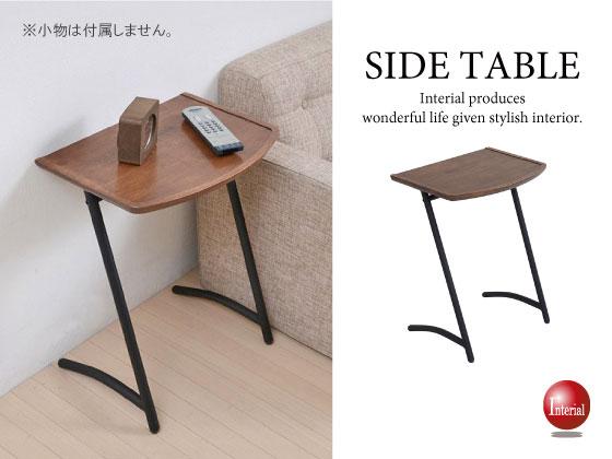 天然木&スチール製・ヴィンテージ風サイドテーブル(スクエア)