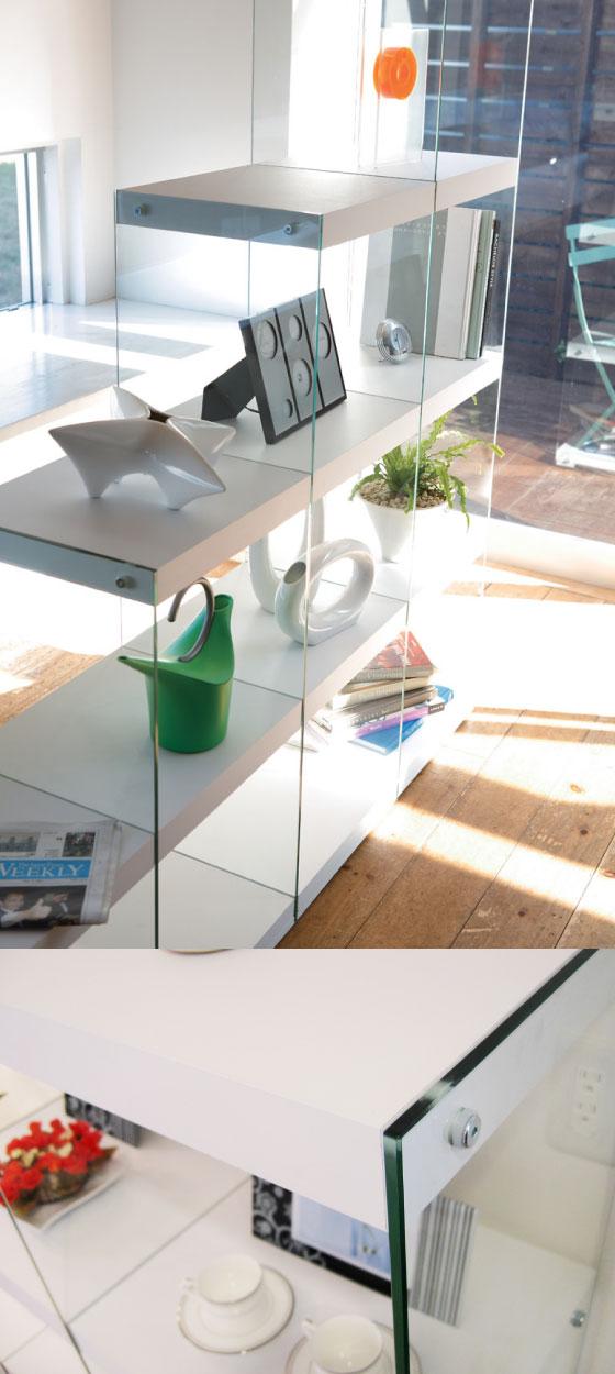 階段デザイン・サイドガラスラック(4D)