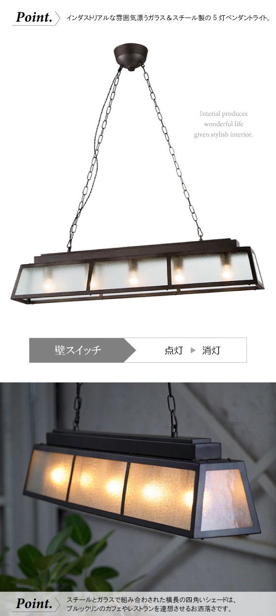 スチール&ガラス製・ペンダントライト(5灯)LED電球&ECO球使用可能
