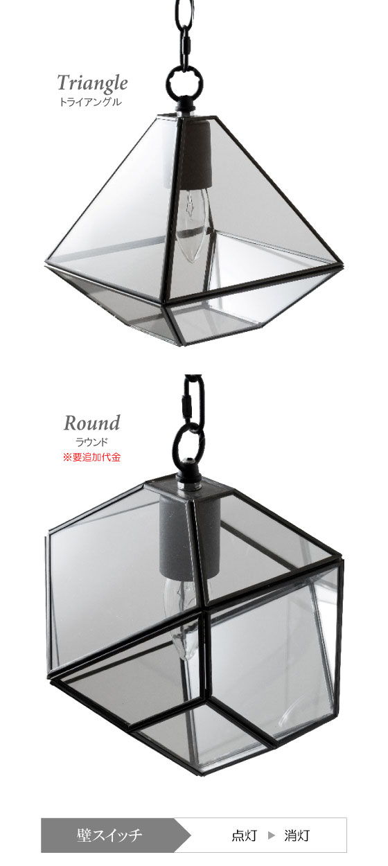 テラリウムデザイン・ガラス製ペンダントライト(1灯)LED電球&ECO球使用可能