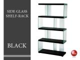 幅82.5cmスタイリッシュ・ガラスシェルフ Lサイズ(ブラック)