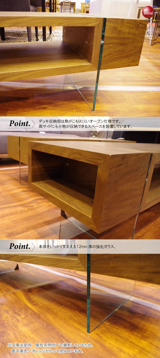 モダンデザイン・天然木ウォールナット&ガラス製テレビボード(幅160cm)【完売しました】
