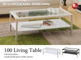 強化ガラス天板&スチール脚・ローテーブル(幅100cm)