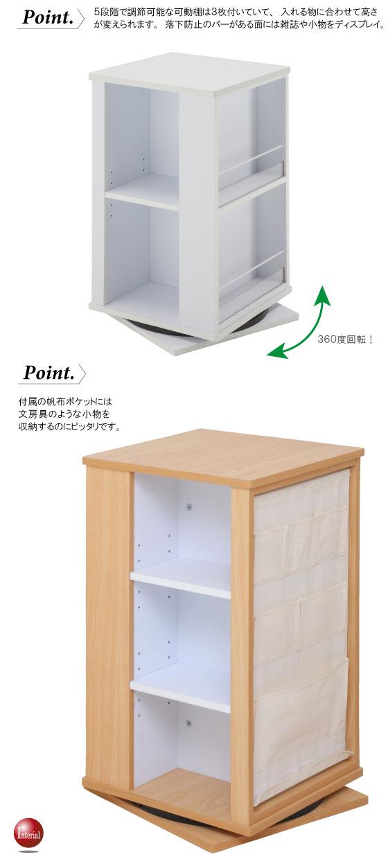 帆布ポケット付・4面回転式シェルフ(幅40cm)