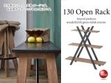 天然木ミンディ製・3段オープンラック(幅130cm)