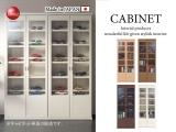 木目調・幅74cmガラスキャビネット(日本製・完成品)