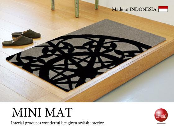 ブラックレース柄・ミニマット(70cm×120cm)