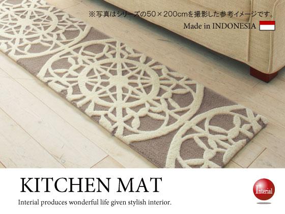 ホワイトレース柄・モダンデサインキッチンマット(50cm×240cm)