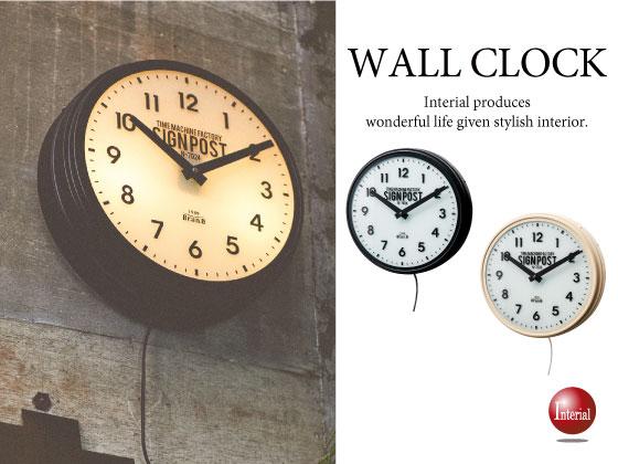 ライト付き!レトロテイスト・壁掛け時計