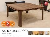 幅80cm・木目調PVCシート・ローテーブル(こたつ使用可能・折りたたみ式)