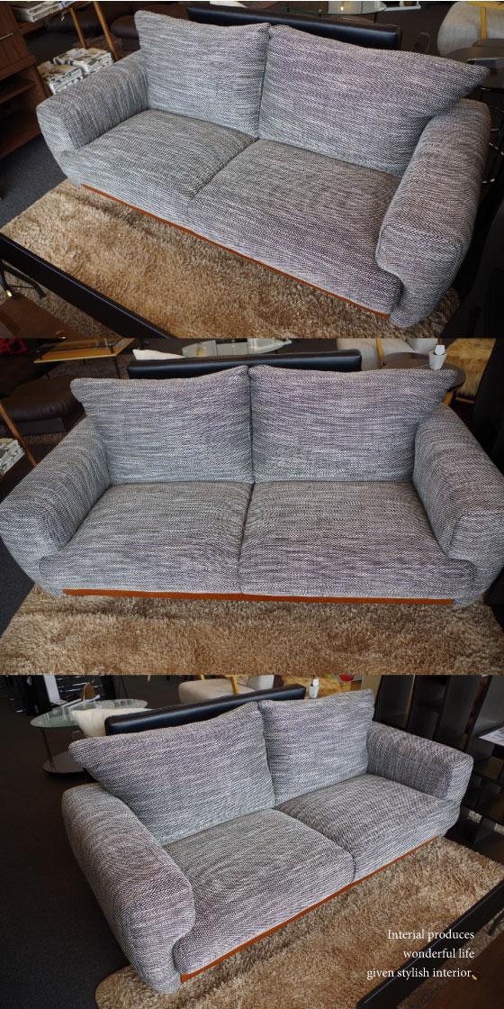天然木&ファブリック製・2.5人掛けソファー(幅170cm)