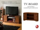 ヴィンテージブラウン・木目調コーナーテレビボード(幅89cm)